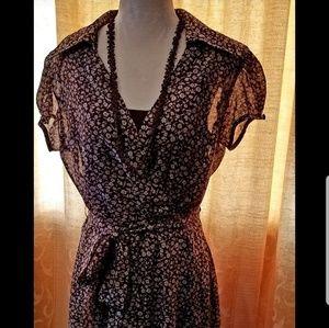 MSK Vintage Inspired Brown Dress